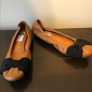 Womens lanvin brown leather ballet bow flats 8